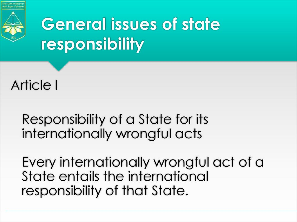General issues of state responsibility
