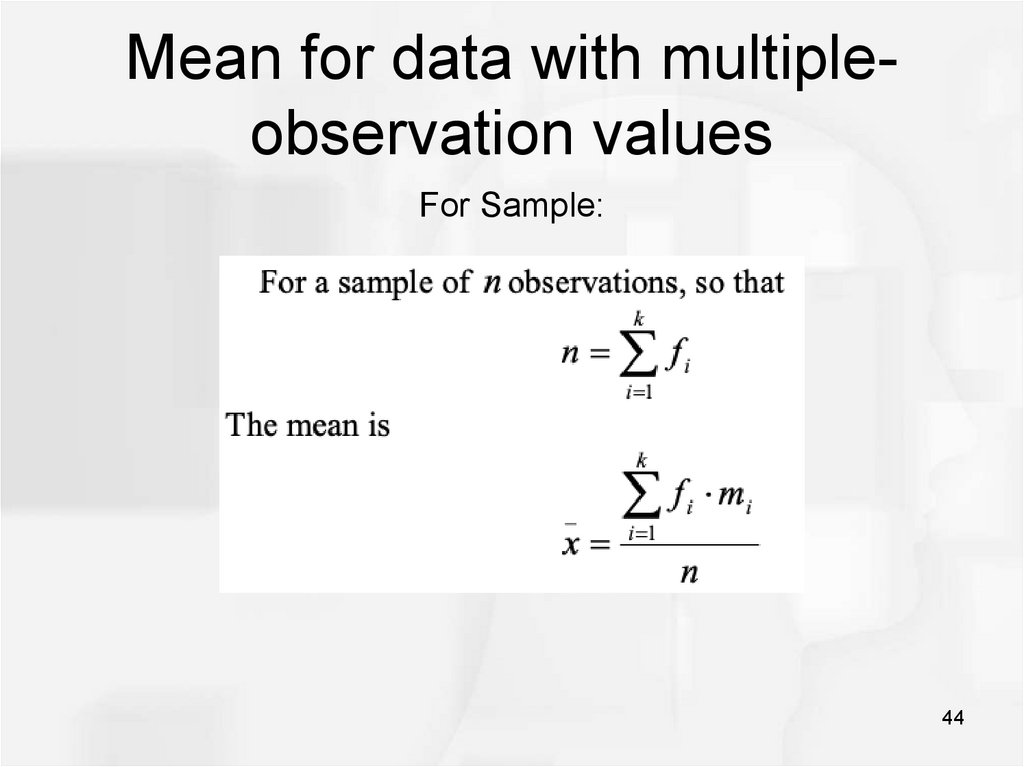Mean for data with multiple-observation values