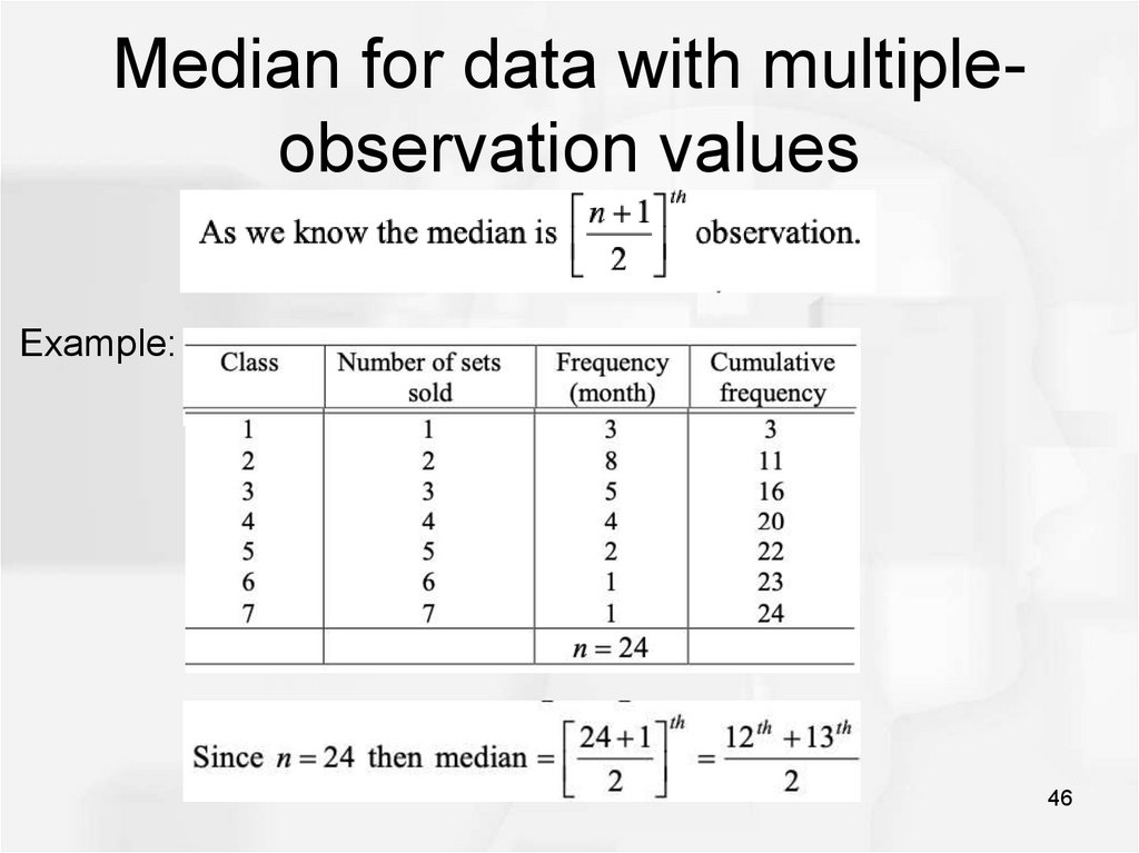Median for data with multiple-observation values