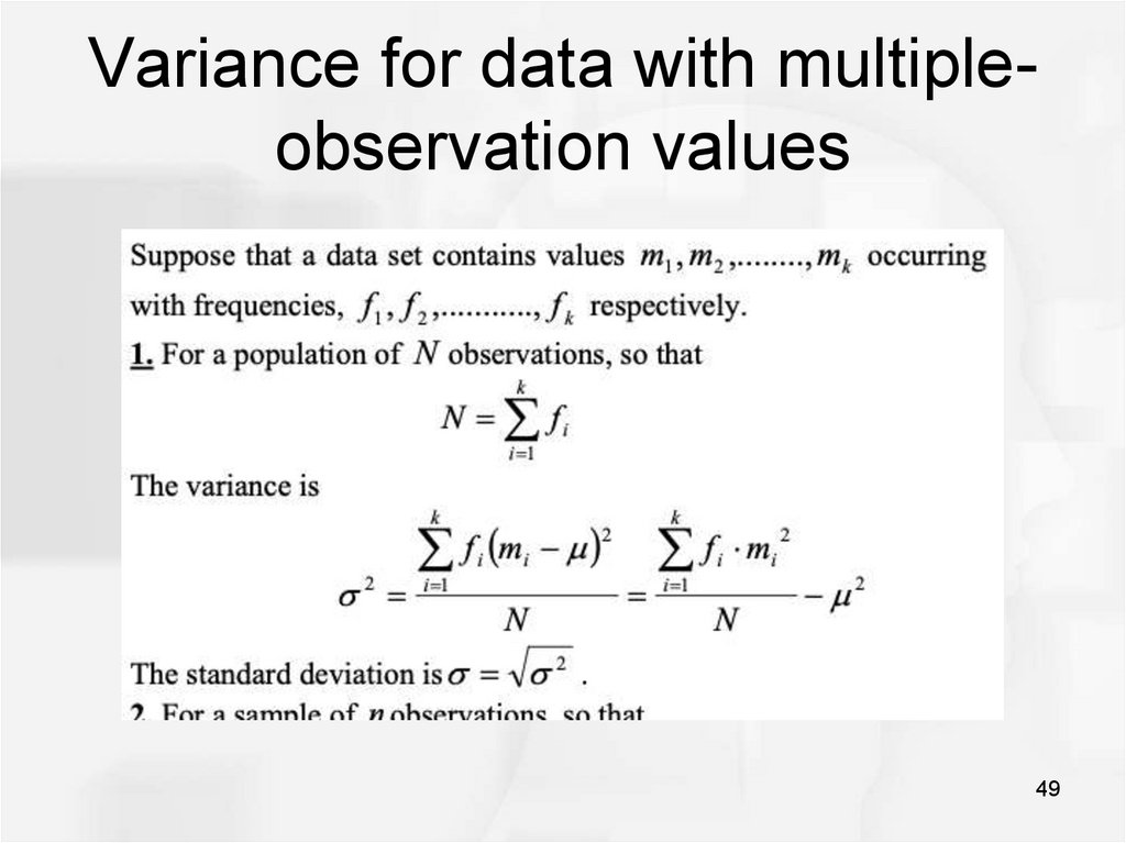 Variance for data with multiple-observation values