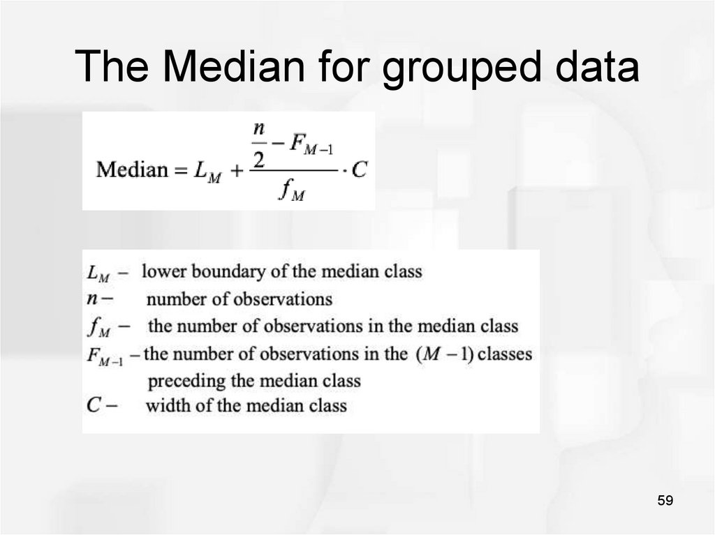 The Median for grouped data