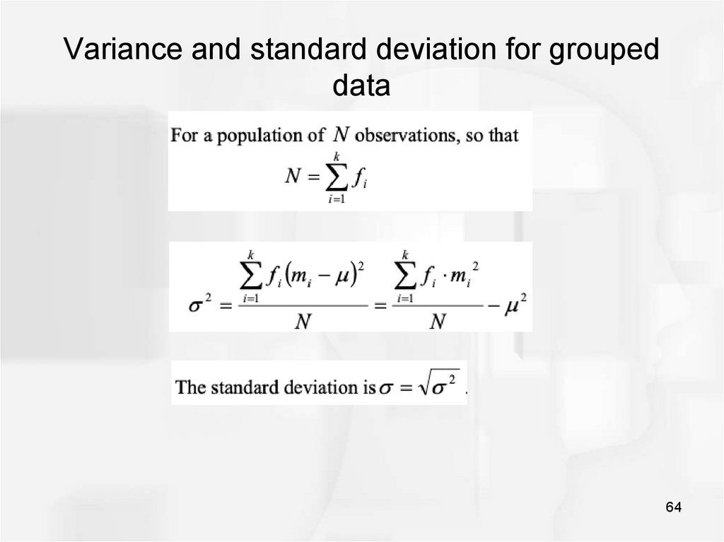 Variance and standard deviation for grouped data