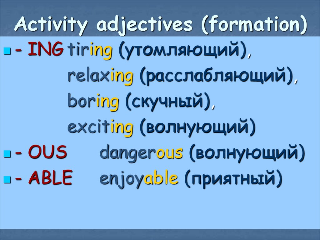 Activity adjectives (formation)