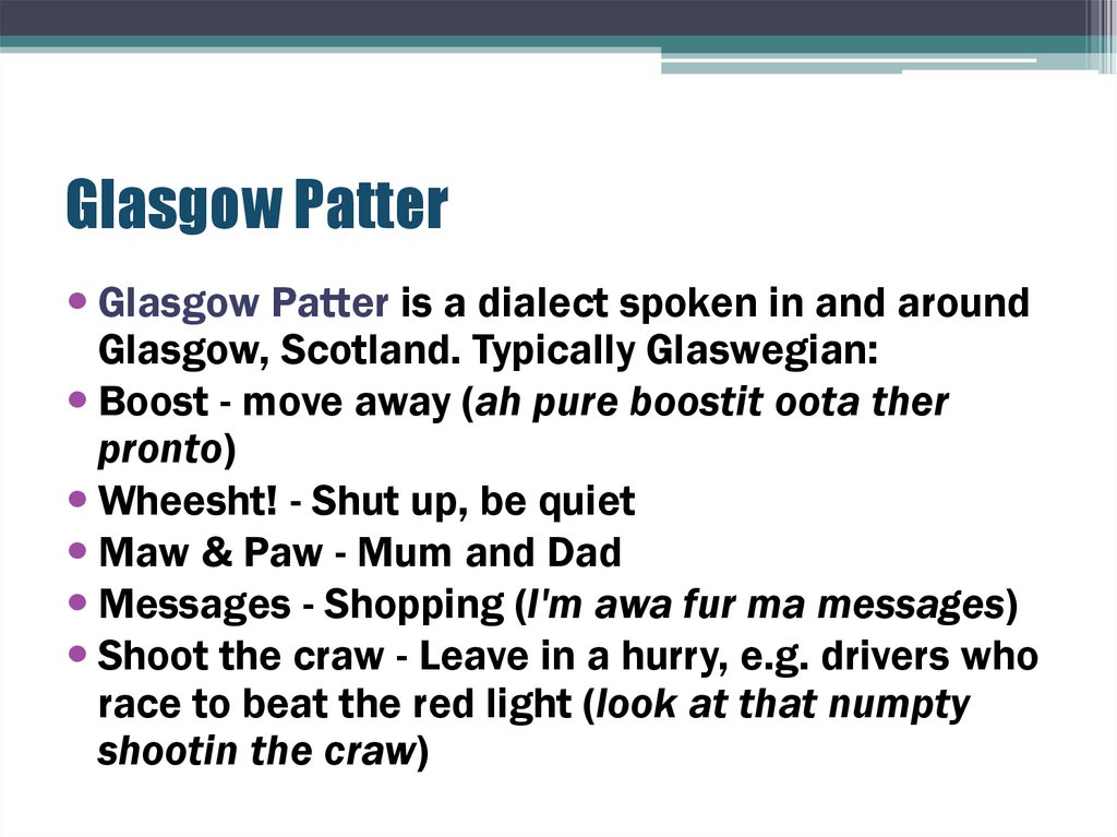 Glasgow Patter