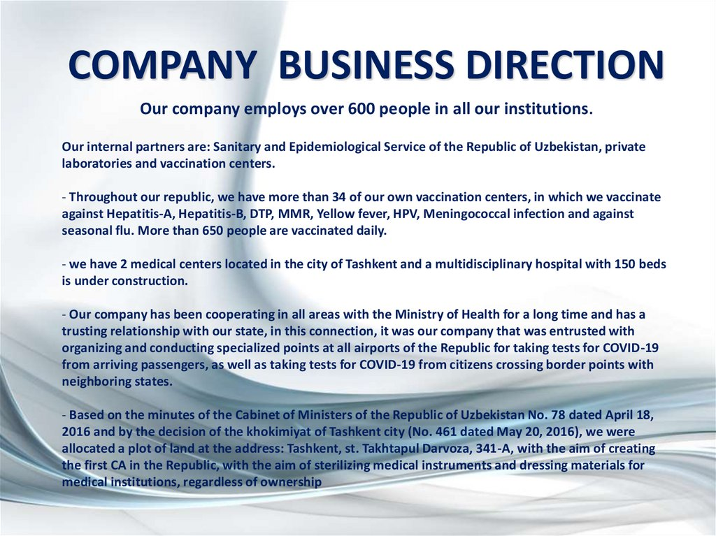 COMPANY BUSINESS DIRECTION