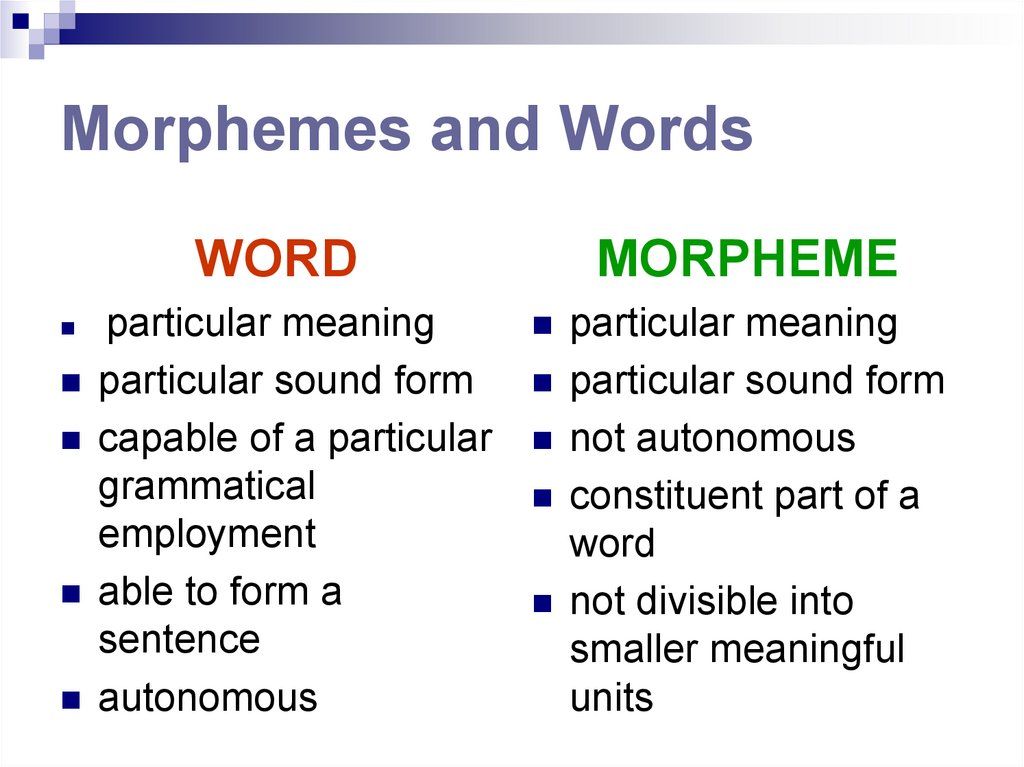 Morphemes and Words