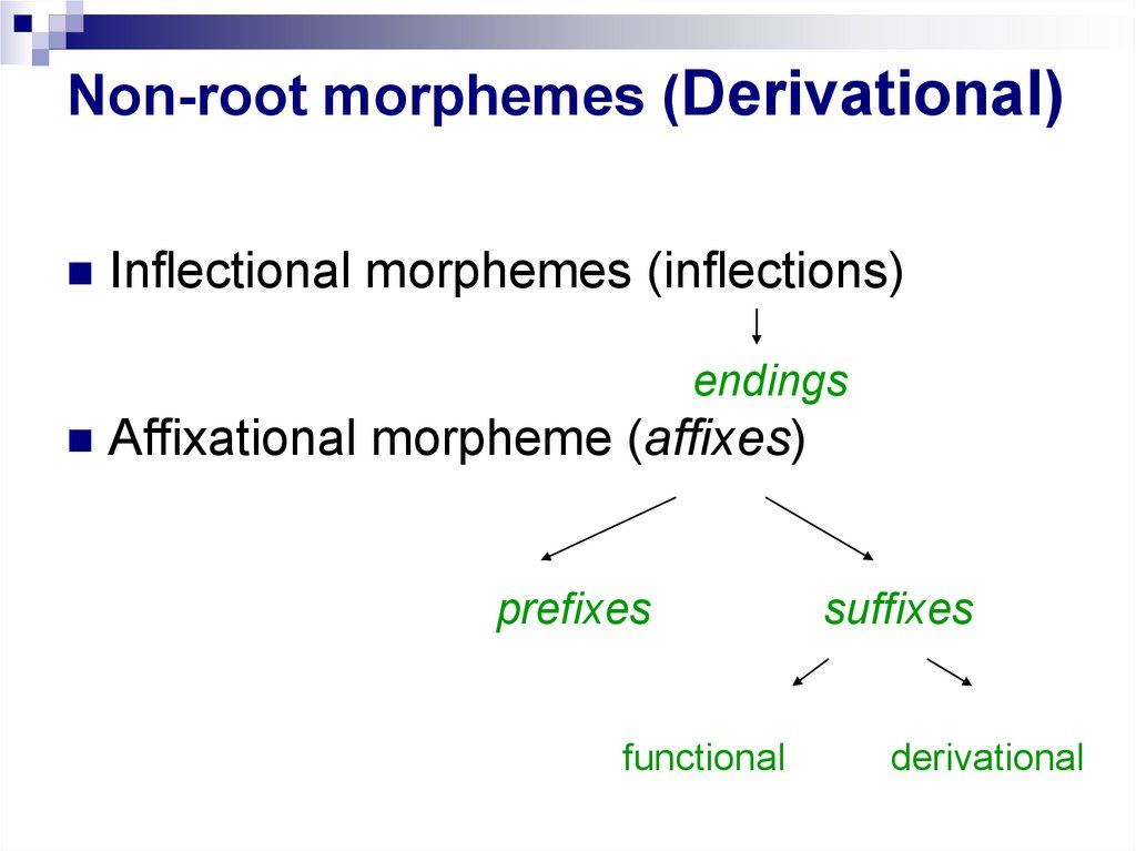Non-root morphemes (Derivational)