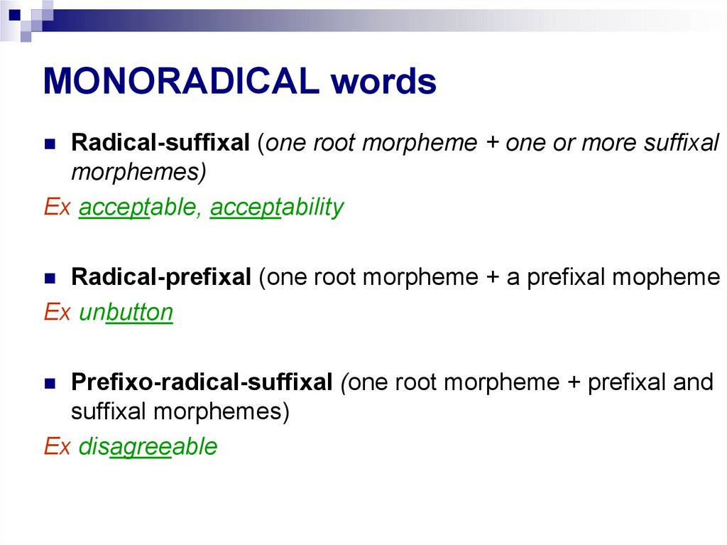 MONORADICAL words