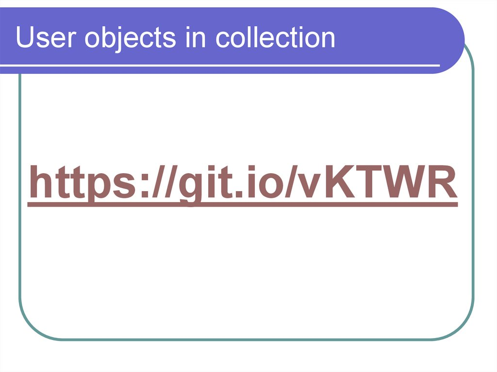 User objects in collection