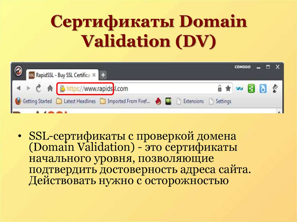 Сертификаты Domain Validation (DV)