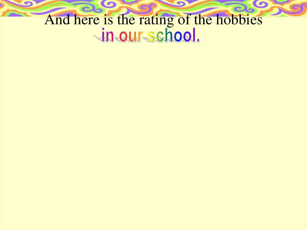 And here is the rating of the hobbies