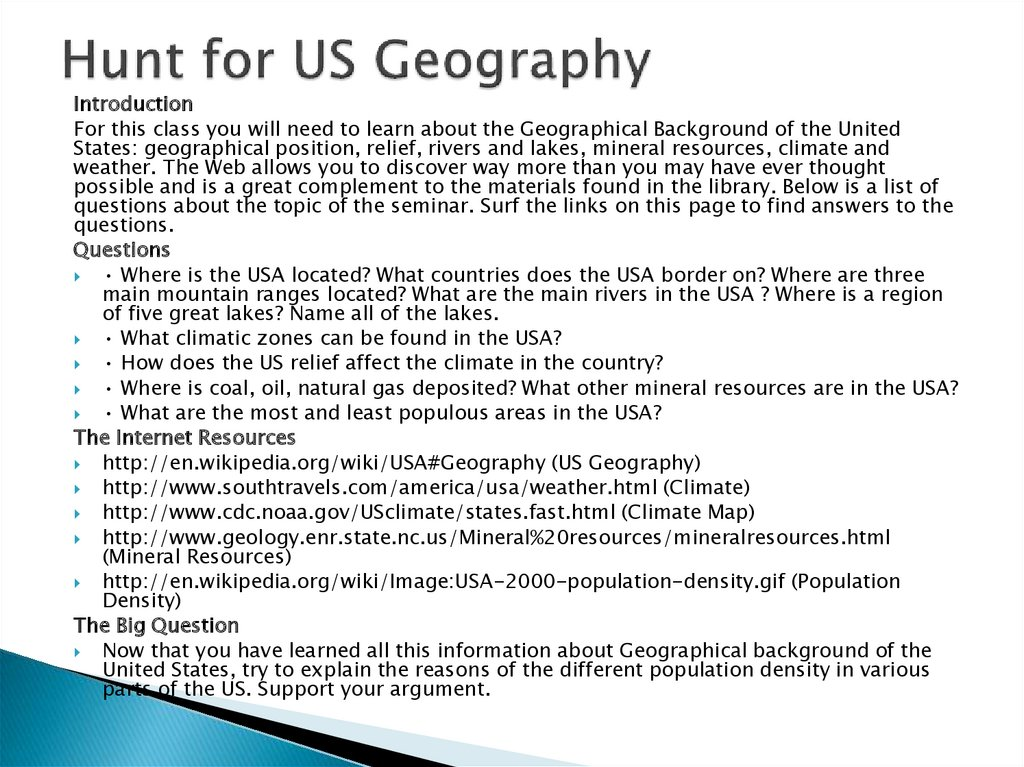 Hunt for US Geography