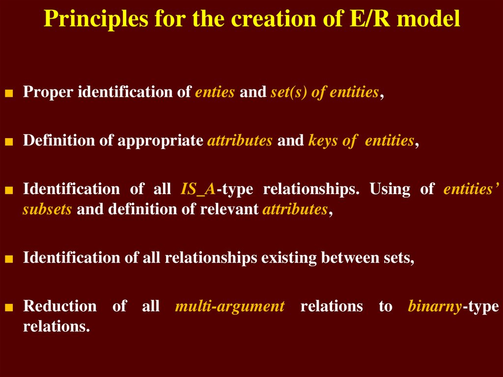 Principles for the creation of E/R model