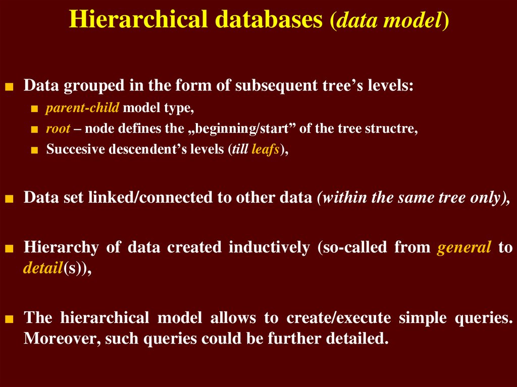Hierarchical databases (data model)