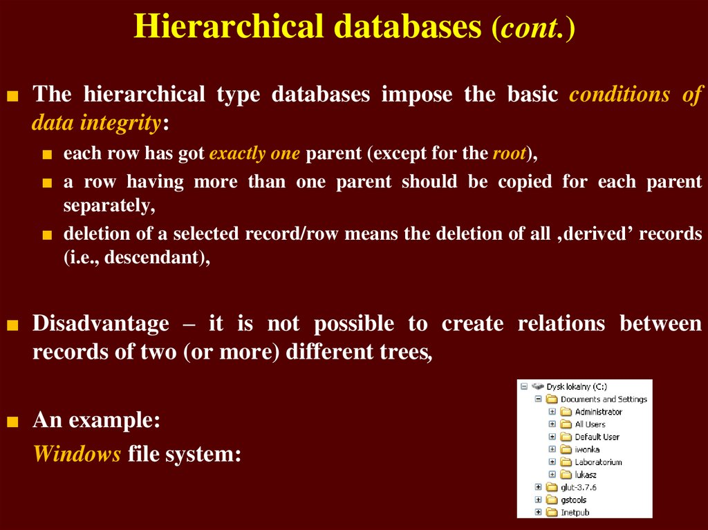 Hierarchical databases (cont.)