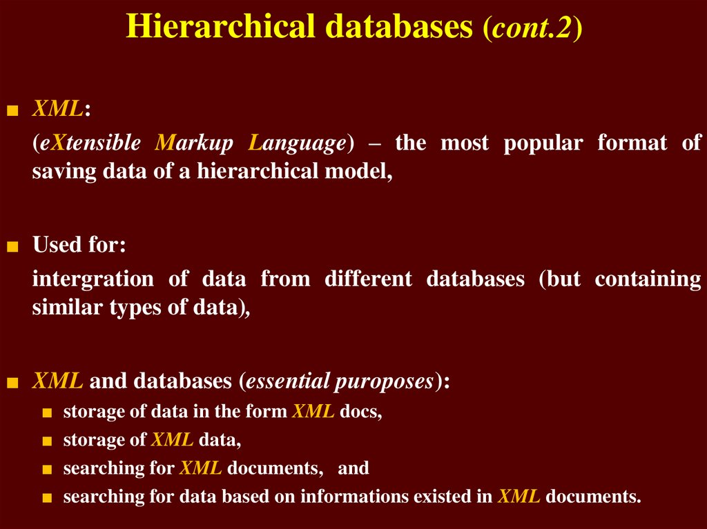 Hierarchical databases (cont.2)