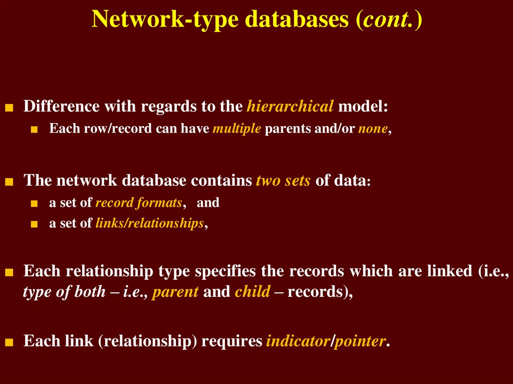 Network-type databases (cont.)