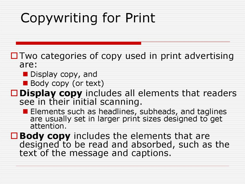 Copywriting for Print